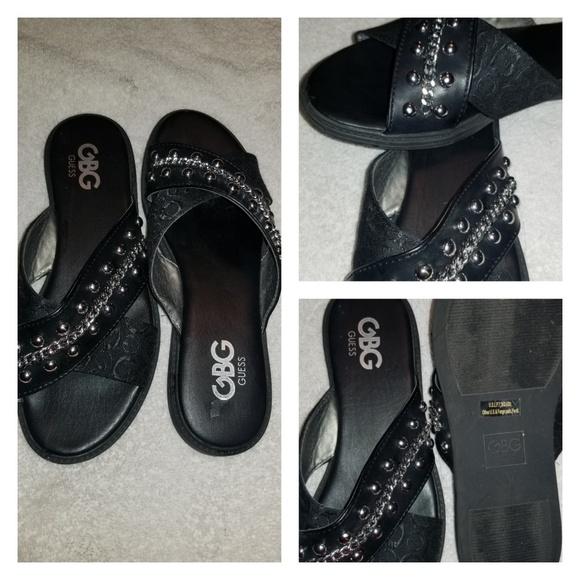 Black Flat Sandals With Silve | Poshmark